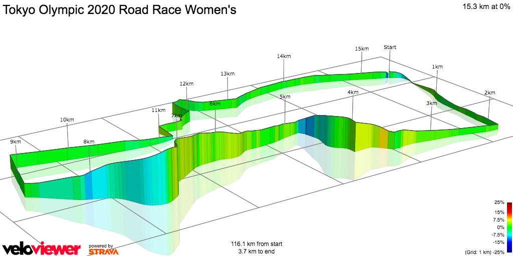 3D Elevation profile image for Tokyo Olympic 2020 Road Race Women's