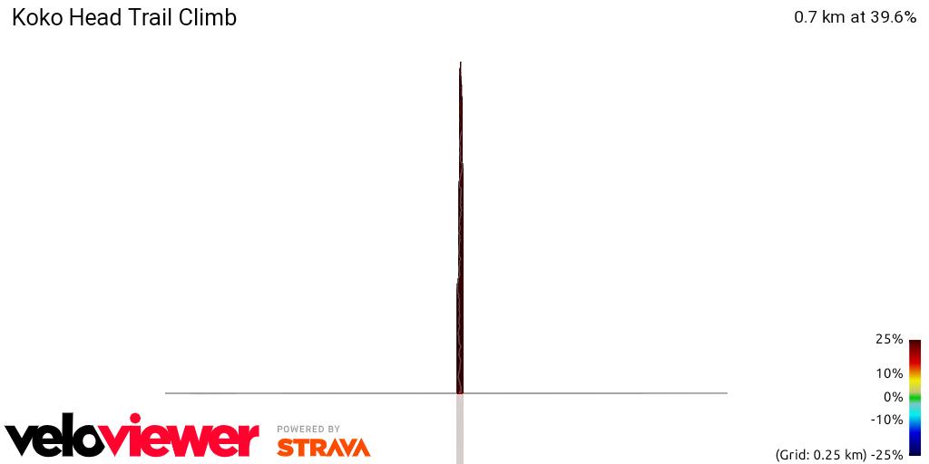 3D Elevation profile image for Koko Head Trail Climb