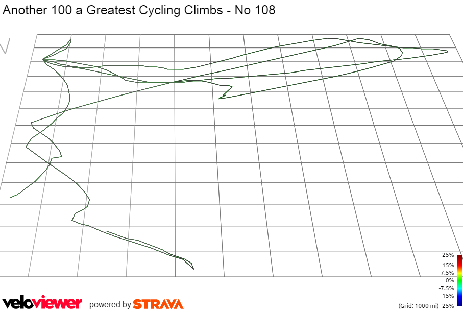 3D Elevation profile image for Another 100 a Greatest Cycling Climbs - No 108