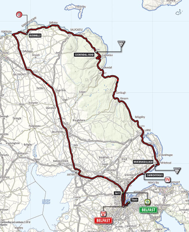 2014 Giro d'Italia Stage 2 Map, Belfast to Belfast
