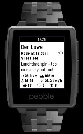 VeloViewer brings Strava timeline to Pebble