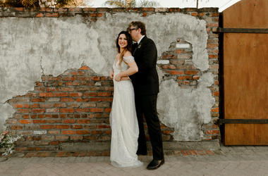 Photo provided by Katch Silva, Michelle Branch and Patrick Carney pose for a photo in New Orleans. The Grammy-winning musicians tied the knot Saturday at the Marigny Opera House