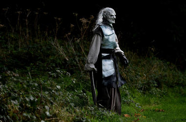 An actor dressed as a White Walker character from Game of Thrones