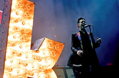 Brandon Flowers of The Killers performs onstage during the grand opening of T-Mobile Arena