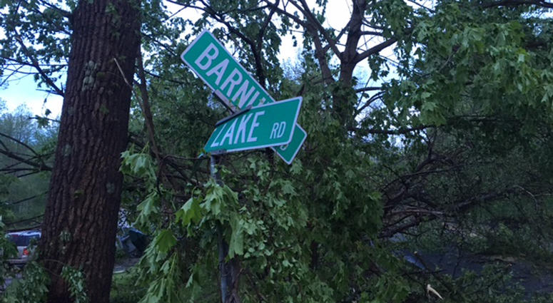 Storm damage in Danbury, Connecticut on May 16, 2018.