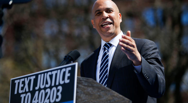 Cory Booker (D-NJ) and 2020 presidential candidate, speaks to supporters during a campaign event on April 13, 2019 in Newark, New Jersey. The New Jersey Senator and presidential hopeful is launching his Justice for All campaign tour.