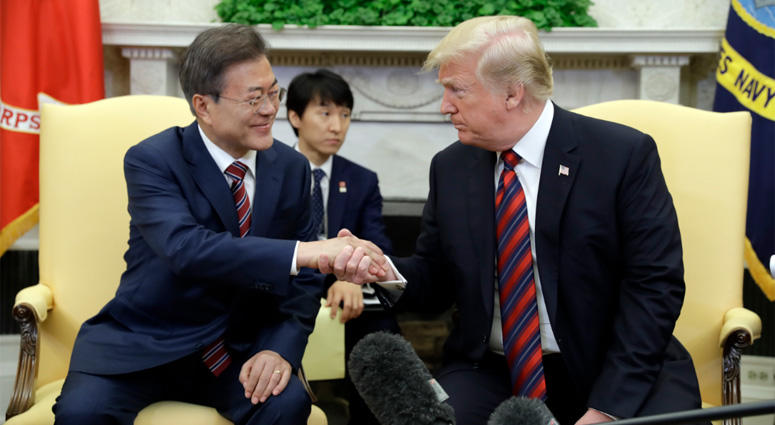 South Korean President Moon Jae-in, President Donald Trump