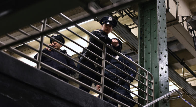 NYPD officers subway