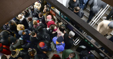 Passengers wait for subway at Grand Central station
