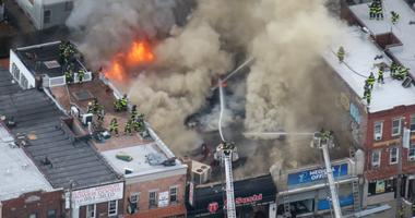 Five-alarm fire in Marine Park