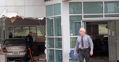 A car has crashed into a Social Security office