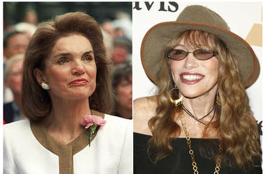 Jacqueline Kennedy Onassis in New York in 1992, left and Carly Simon at the 2016 Clive Davis Pre-Grammy Gala in Beverly Hills, Calif., on Feb. 14, 2016