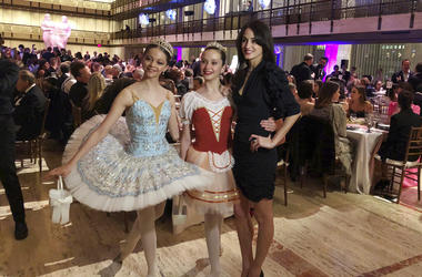 Melanie Hamrick poses with dancers at the gala of Youth America Grand Prix