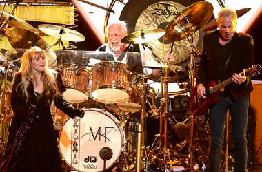 Stevie Nicks, Mick Fleetwood, and Lindsey Buckingham of Fleetwood Mac appear at the 2018 MusiCares Person of the Year
