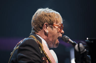 Elton John takes the stage at the Wells Fargo Center in Philadelphia, Pa.