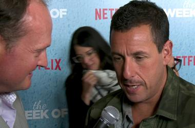 ADAM SANDLER talks about THE WEEK OF at the premiere with Brad Blanks
