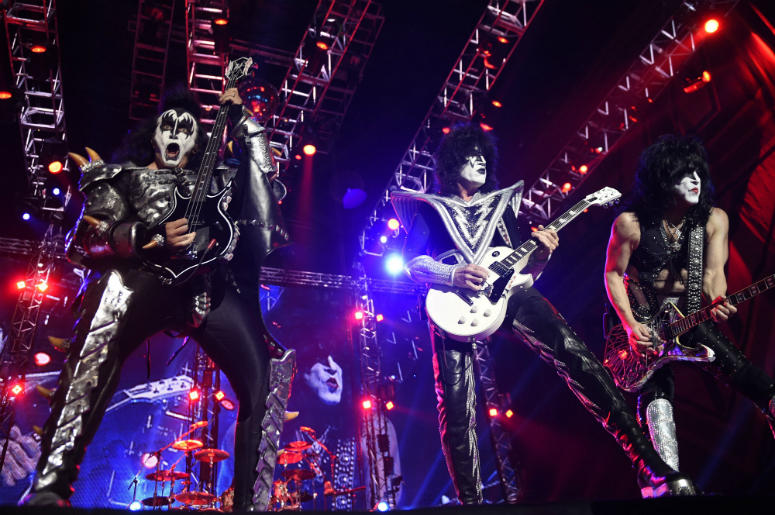 "Gene Simmons (L), Tommy Thayer (C), and Paul Stanley of the band ""Kiss"""