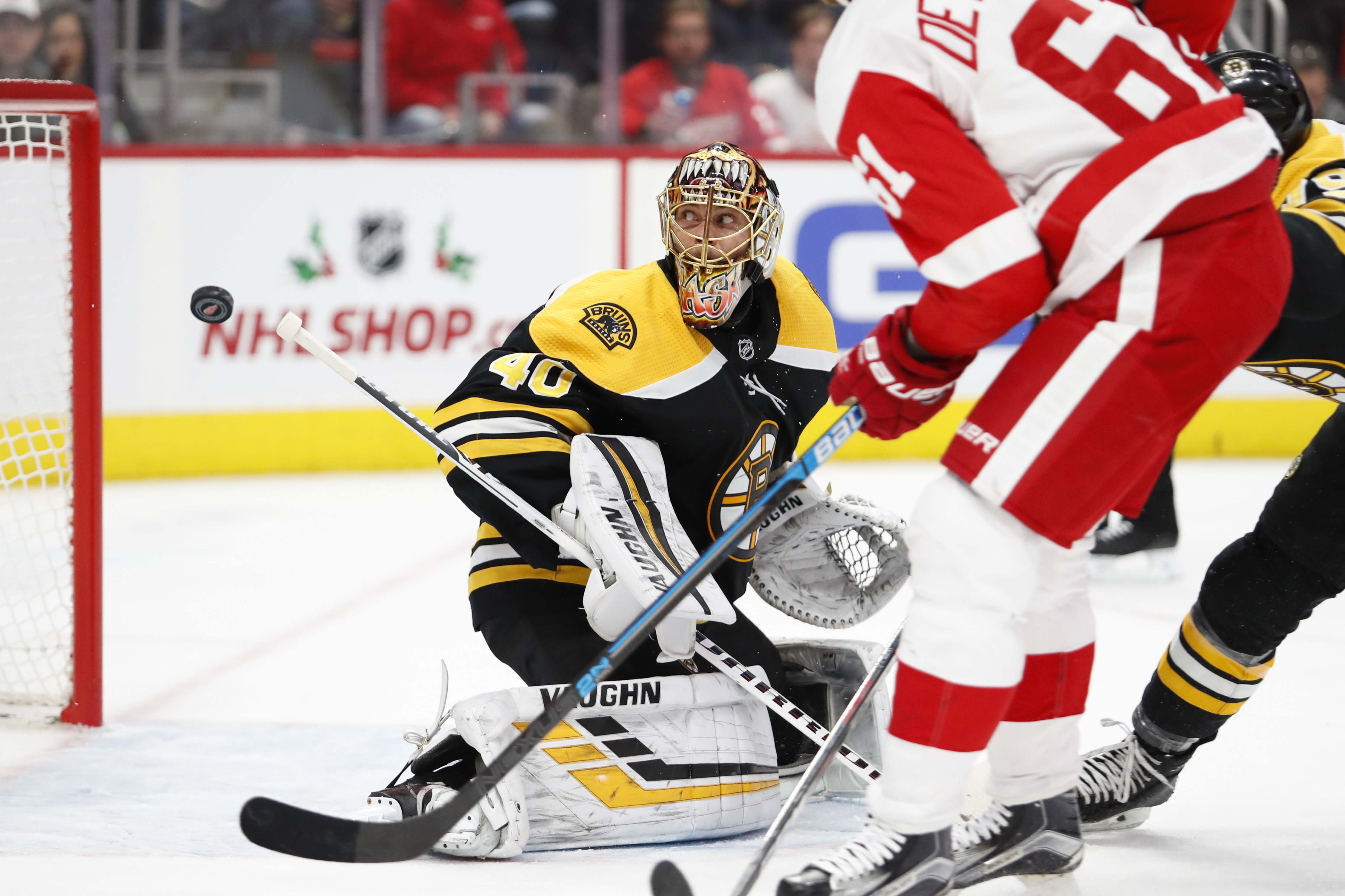 ab901ac8e05 Tuukka Rask continued his improved play for the Bruins in an overtime loss  at Detroit