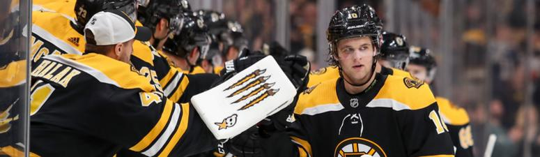 Bjork trying to make his shot with Bruins count