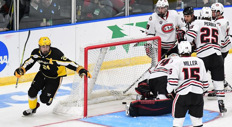 AIC forward Joel Kocur scores vs. St. Cloud State