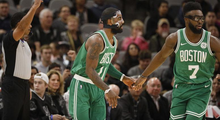 Kyrie Irving and Jaylen Brown of the Celtics.
