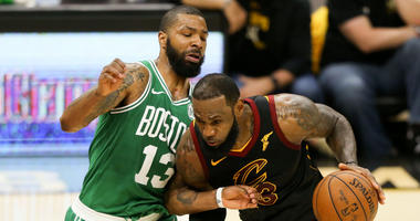 Marcus Morris and LeBron James