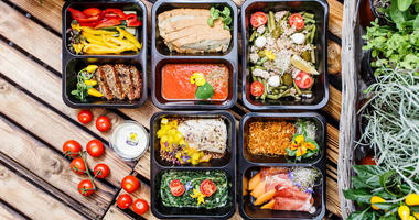 Healthy food and diet concept, restaurant dish delivery. Take away of fitness meal. Breakfast, clean
