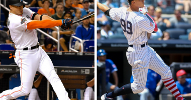 Miami Marlins right fielder Giancarlo Stanton (27) at bat against the New York Mets at Marlins Park / New York Yankees designated hitter Aaron Judge (99) hits a home run in the fourth inning against the Toronto Blue Jays at Yankee Stadium.
