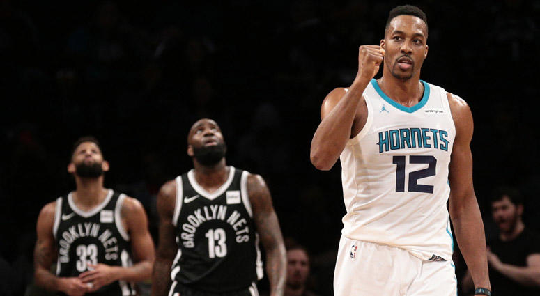 Charlotte Hornets center Dwight Howard reacts against the Brooklyn Nets on March 21, 2018, at the Barclays Center.
