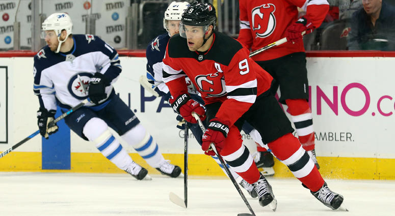 The Devils' Taylor Hall skates with the puck against the Winnipeg Jets on March 9, 2018, at the Prudential Center.