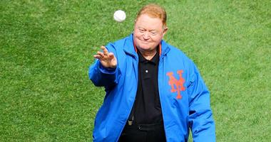 Mets great Rusty Staub throws out the ceremonial first pitch on Opening Day 2013 at Citi Field.