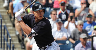 The Yankees' Aaron Judg bat against the Detroit Tigers in a spring training game on Feb. 28, 2018, at George M. Steinbrenner Field in Tampa, Florida.