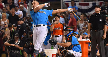 The Yankees' Aaron Judge participates in the MLB Home Run Derby on July 10, 2017, at Marlins Park in Miami.