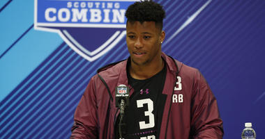 Penn State running back Saquon Barkley speaks to the media during the 2018 NFL Combine on March 1, 2018, in Indianapolis.