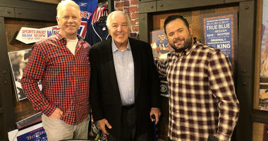 Mets great Ed Kranepool poses with Boomer Esiason and Gregg Giannotti