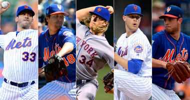 Mets pitchers Matt Harvey, Jacob deGrom, Noah Syndergaard, Zack Wheeler and Steven Matz