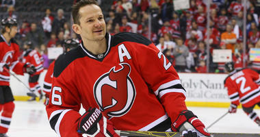 Devils left wing Patrik Elias skates in warmups before a game against the Toronto Maple Leafs at Prudential Center on April 9, 2016.
