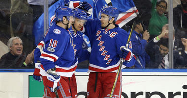 Rangers right wing Michael Grabner (40) celebrates his goal against the Tampa Bay Lightning with center J.T. Miller (10) and defenseman Ryan McDonagh (27) on March 13, 2017, at Madison Square Garden.