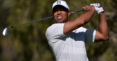 Tiger Woods plays his shot from the fourth tee during the second round of the Genesis Open golf tournament at Riviera Country Club in Los Angeles on Feb. 16, 2018.