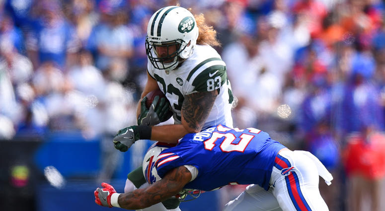 Jets tight end Eric Tomlinson is tackled while playing against the Buffalo Bills on Sept. 10, 2017, at New Era Fieldin Orchard Park, New York.