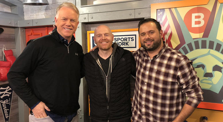 Comedian Bill Burr poses with Boomer Esiason and Gregg Giannotti on Oct. 17, 2018.
