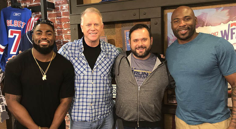From left, Landon Collins, Boomer Esiason, Gregg Giannotti and Brandon Jacobs