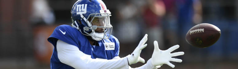 Odell Beckham Jr. catches a pass during training camp in East Rutherford.