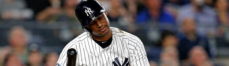 The Yankees' Aaron Hicks reacts after popping out against the Red Sox in the Game 4 of their ALDS on Oct. 9, 2018, at Yankee Stadium.