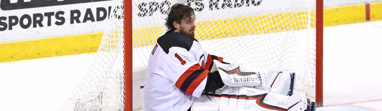 Devils goaltender Keith Kinkaid loses his mask after a collision with the Florida Panthers on Nov. 26, 2018, at BB&T Center in Sunrise, Florida.
