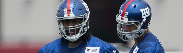 Giants defensive end Avery Moss (91) practices during training camp in 2017.