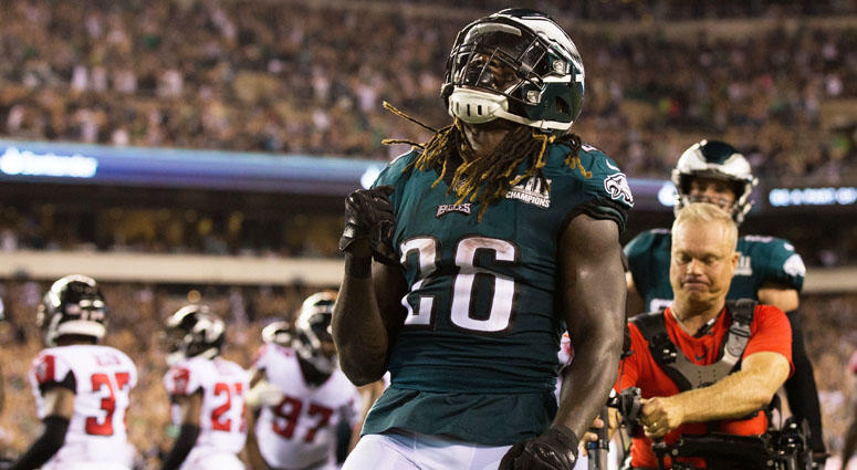 Eagles running back Jay Ajayi reacts to his touchdown against the Atlanta Falcons during the third quarter on Sept. 6, 2018, at Lincoln Financial Field in Philadelphia.
