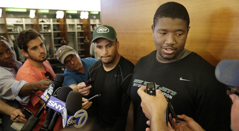 The Jets' Kelvin Beachum (right) and Jermaine Kearse talk to reporters on May 29, 2018, after a practice at the team's training facility in Florham Park, N.J.