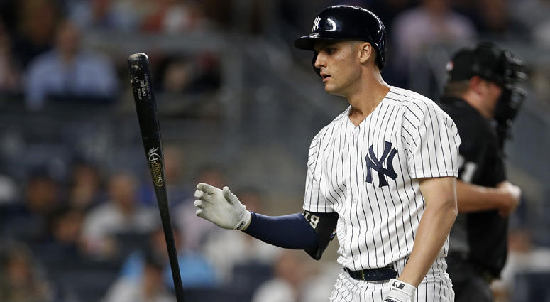 Yankees first baseman Greg Bird reacts after striking out against the Tampa Bay Rays on Aug. 15, 2018, at Yankee Stadium.