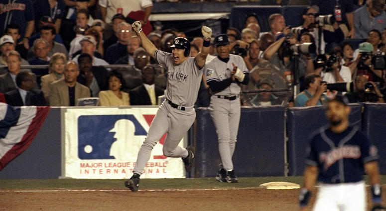 The Yankees' Scott Brosius hits the winning home run during Game 3 of the World Series against the Padres on Oct. 20, 1998, at the Qualcomm Stadium in San Diego.